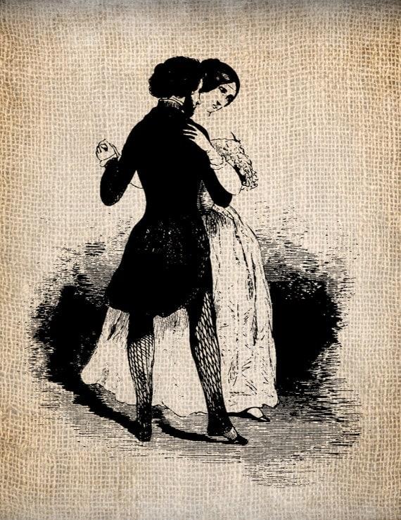 Antique Dancing Couple Illustration Silhouette Digital Download for Papercrafts, Transfer, Pillows, etc. Burlap No. 1759