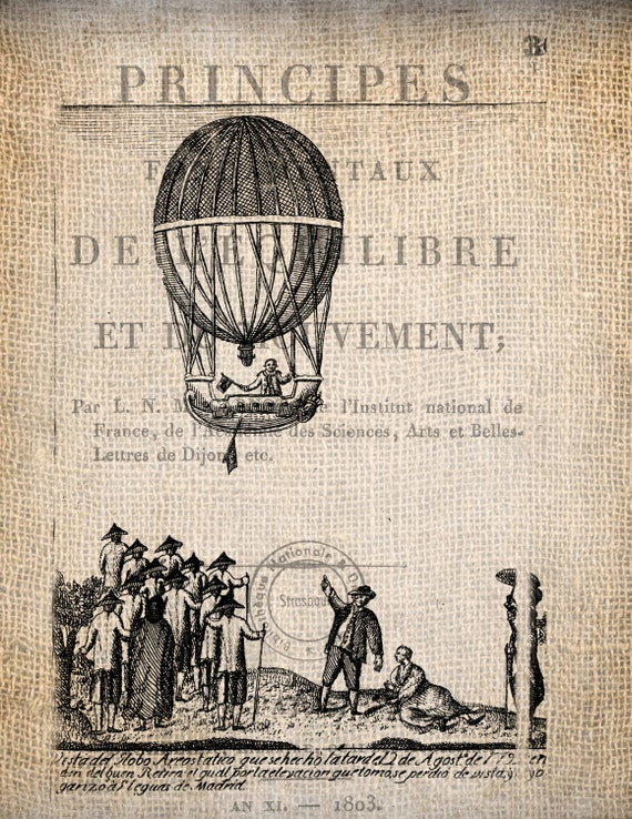 Steampunk Paris Hot Air Balloon Ticket Illustration  Digital Download for Papercrafts, Transfer, Pillows, etc Burlap No. 1687