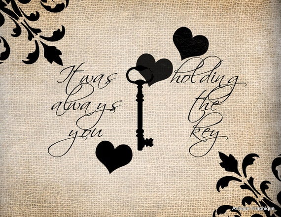 Antique Skeleton Key Brocade Love Romance Quote Saying llustration Digital Download for Papercrafts, Transfer, Pillows, etc. No 1419