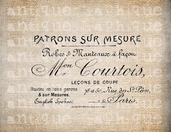 Antique French Paris Label Fashion Dress Shop Store Digital Download for Papercrafts, Transfer, Pillows, etc Burlap No 2927