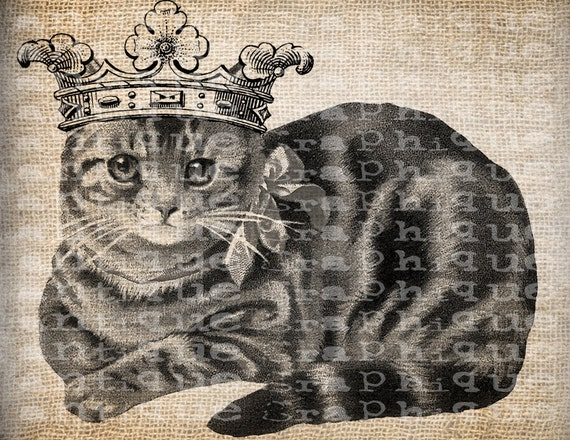 Antique Pretty Kitty Cat Victorian Collar Crown Digital Download for Tea Towels, Papercrafts, Transfer, Pillows, etc Burlap No 3593