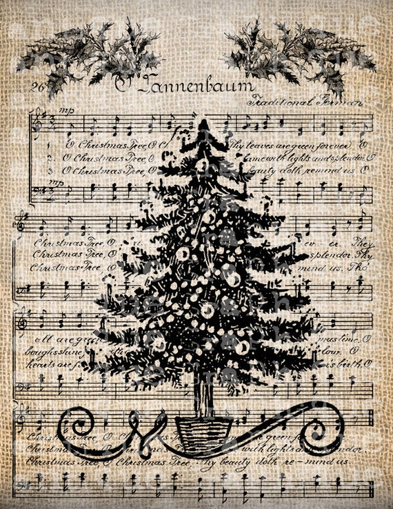 antique music christmas tree holiday song by antiquegraphique. Black Bedroom Furniture Sets. Home Design Ideas