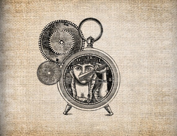 Antique Steampunk Gears Clock Victorian Funny Odd Unusual Digital Download for Papercrafts, Transfer, Pillows, etc Burlap No. 5039