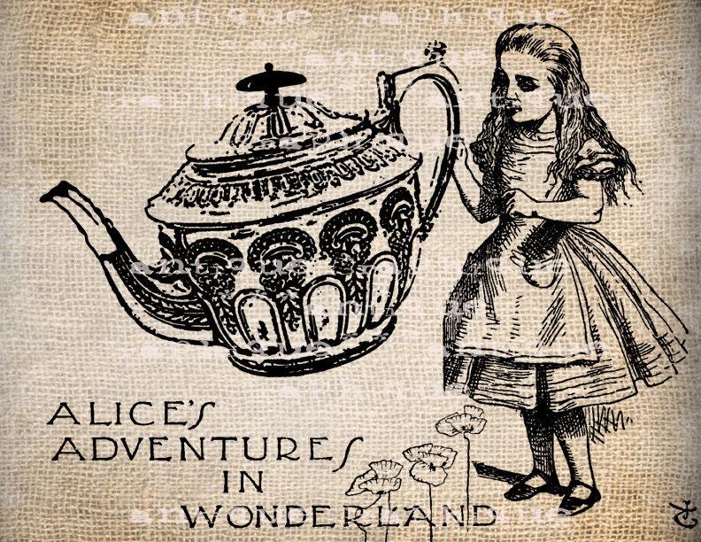 Antique Alice Teapot Wonderland Clipart by AntiqueGraphique