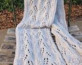 Gray Lace Scarf (hand knit, leaves, twist, winter, warm, long)