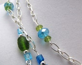 Blue Green Sparkle necklace and earring set
