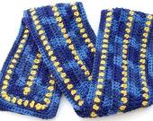 Crochet Scarf - Navy, Blue, Gold, Yellow - Team Colors - OOAK