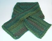 Crochet Scarf, Green, Keyhole Scarflette - Soft, Dark Moss with Subtle Stripes of Color