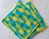 Crochet Wash Cloths, Cotton, Set of 2 for Camping, Poolside or Home