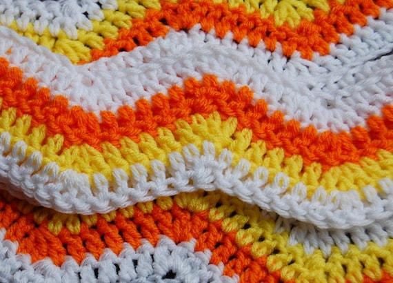 Crochet Scarf, White, Orange, Yellow - Zig Zag, Ripple, Chevron