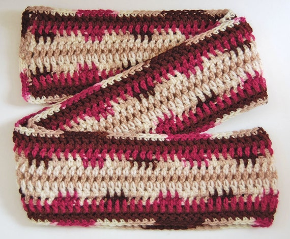 Crochet Scarf - Multicolor Stripes - Yummy Cherry Chip Colors, Aran, Chocolate, Magenta