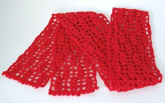 Crochet Scarf - Bright Red Sparkle - Lacy, Feminine, Valentine's Day