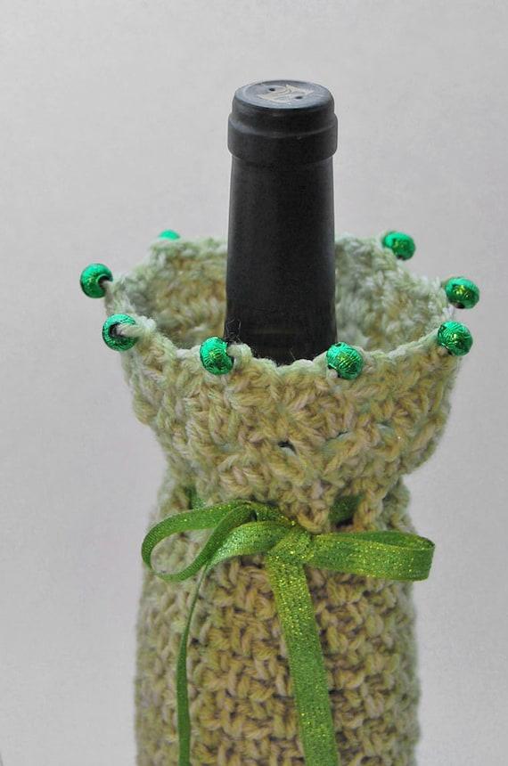Wine Bottle Cover Gift Bag - Crochet - Green, Light Moss - Beaded Edge - Mother's Day