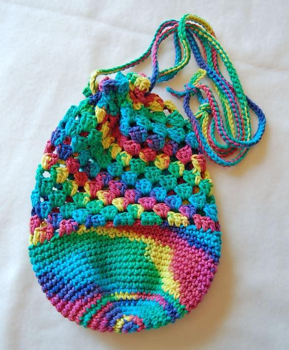 Crochet Cotton Bag : Crochet Drawstring Shoulder Bag, Pouch, 100% Cotton, Hippie ...