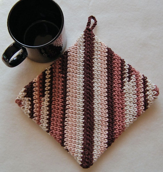 Crochet Hot Pad, Pot Holder - Cotton - Brown Scrappy Stripes