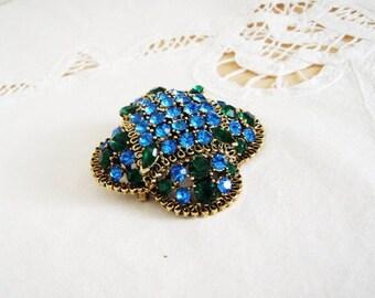 Vintage Lisner Gold Tone Filigree Domed Sapphire Blue and Emerald Green Rhinestone Brooch