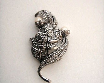 Signed KJL for Avon Kenneth Jay Lane Marcasite and faux Pearl Flower Brooch Pin