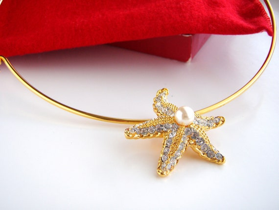 Kenneth J Lane Rhinestone & Pearl Starfish Slide Pendant /Chocker