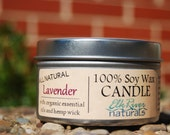 100% Pure Organic Soy Wax Candle-Lavender Essential Oil-Hemp Wick-Undyed-All Natural