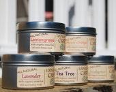 100% Pure Soy Wax Candle-Hemp Wick-Organic Lemongrass Essential Oil-Undyed