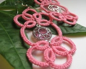 Pink Crystal large tatted earrings