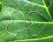 Handmade Large Gold Heart Hoop Earrings