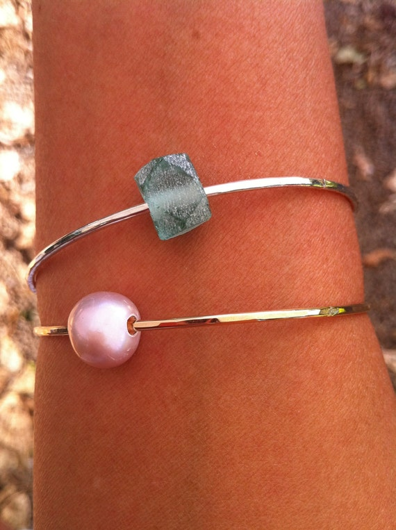 Two STERLING SILVER Custom Shell/Pearl/Glass Bangle