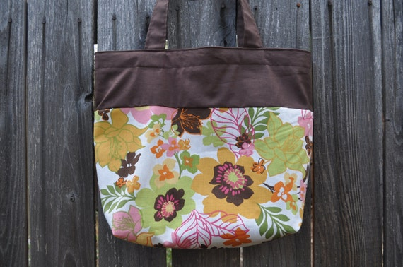 Lined tote bag - green and yellow floral - market tote, grocery bag, beach bag