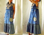 CUSTOM ORDER Dress Ethnic Country Stylish Folk Boho Hippie with hand painted and knitting elements And Lace decorations