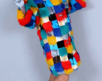 Custom Order Patchwork Boho Hippie Gypsy Amazing Colorful  Fur Coat