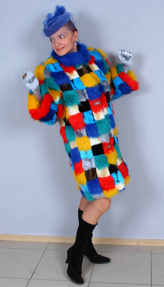 Custom Order Patchwork Boho Hippie Gypsy Amazing Colorful  Fur Coat