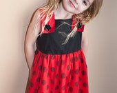 Little Girl's Valentine Dress Red and Black Polka Dots