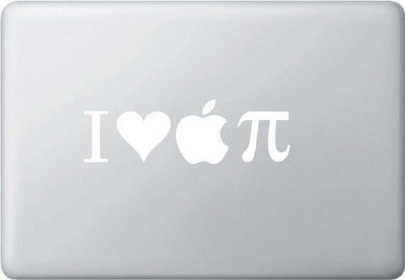 MB - I Heart Apple PI - Vinyl Decal for Macbooks and More... (WHITE)