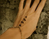 SMOKE : smoky crystal quartz and brass slave bracelet