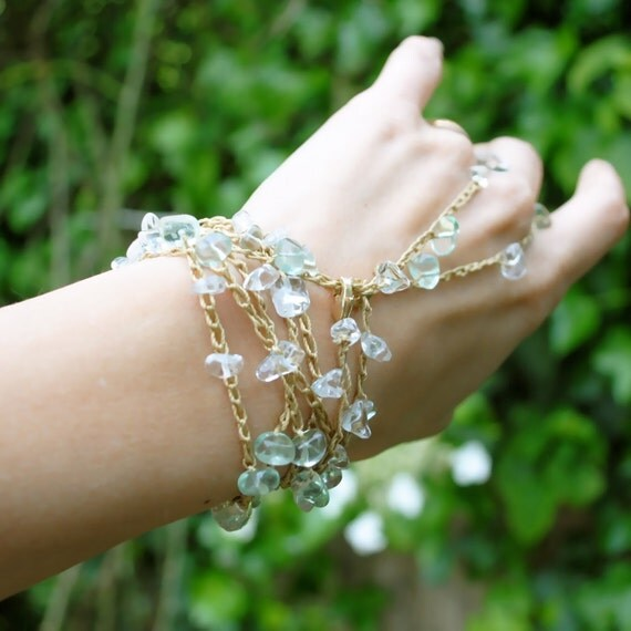 Gemstone wrap slave bracelet (long) - crystal quartz, green flourite and gold - anklet, bracelet, necklace, head band