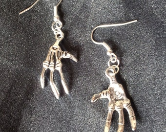Handmade Large Tibetan Silver Creepy Skeleton Hand Claw Earrings Gothic Emo Steampunk