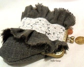 Handmade purse frame - grey fabric, glass beads, lace