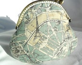 Vintage Coin frame purse map of Paris Eiffel tower blue and beige colors