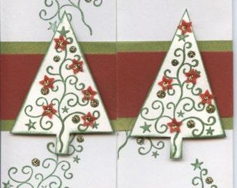 Art deco type christmas tree card