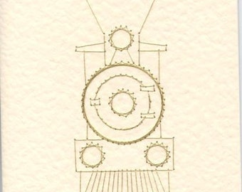 Greetings card with steam engine design