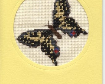 Greetings card with cross stitch butterfly design