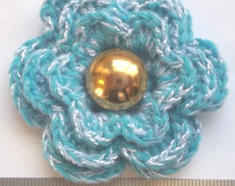 Irish crochet flower brooch in blue and white