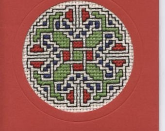 Cross celtic knot design greetings card