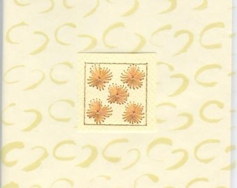 Greetings card with stitched floral design