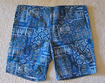 Vintage Surfer Swim Shorts 1950 1960 Jantzen Tiki Surfboard Tribal Tattoo Symbols Lined Very Clean