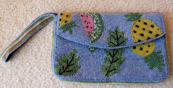 Vintage Beaded Clutch Fruit Blue Pineapple Watermelon Leaves Immaculate