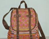 SPECIAL PRICE Orange Backpack Book Bag Handmade HMONG Vintage Fabric Fair Trade Thailand (bg510)