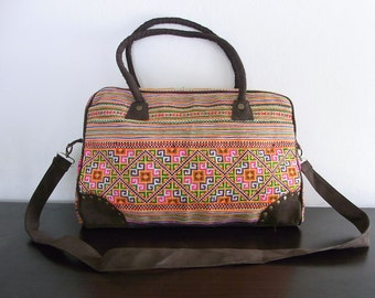 Computer Bag Vintage HMONG Bag - Leather Strap - Fair Trade Thailand (BG506-O)