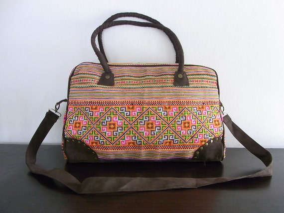 COMPUTER BAG  - Vintage HMONG Bag - Leather Strap - Fair Trade Thailand (506)