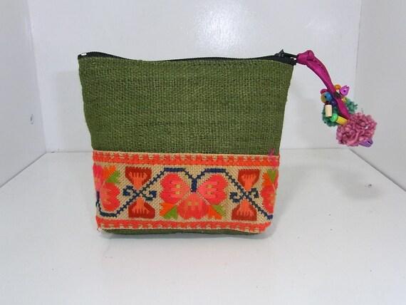 Coin Pouch Bag Purse Hill Tribe Fabric Vintage HMONG Hemp Handmade Thailand (BG290A-G)